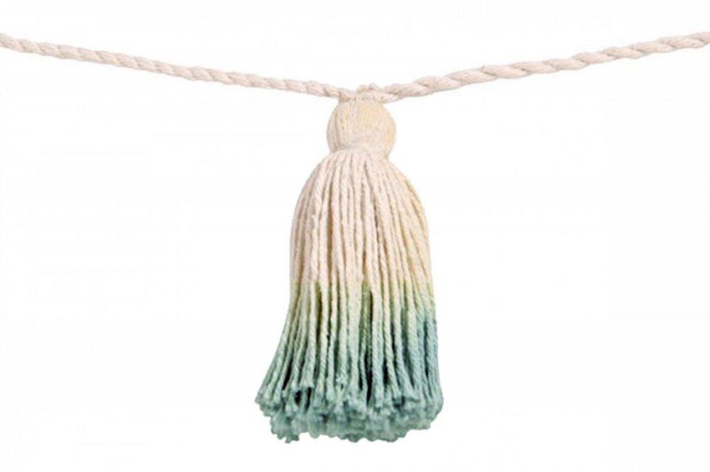 Lorena canals pom pom garland tie-dye vintage blue