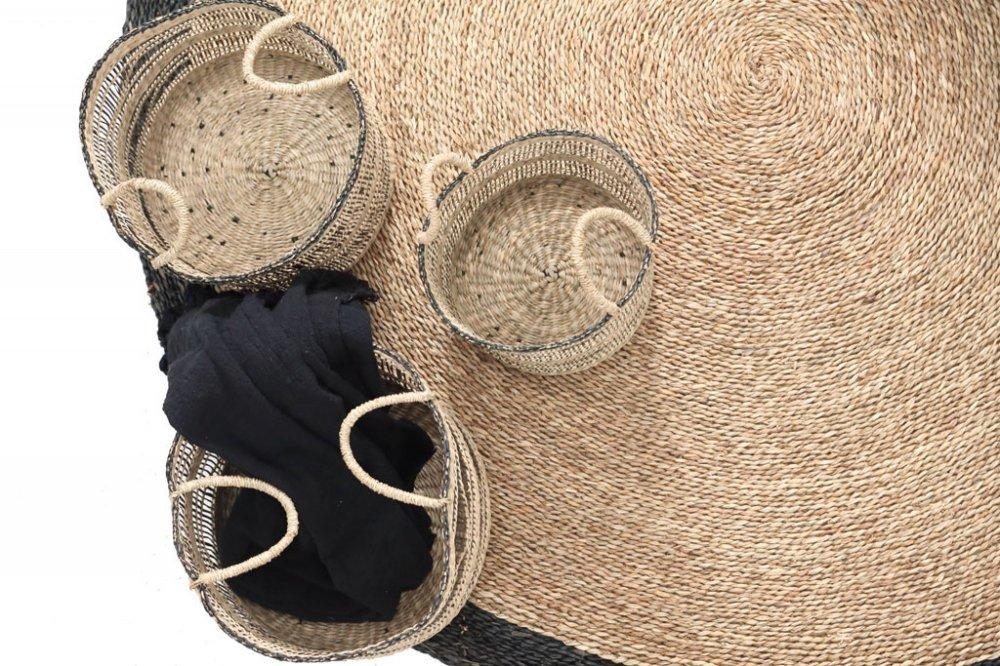 Sandycay basket with handles black pattern m