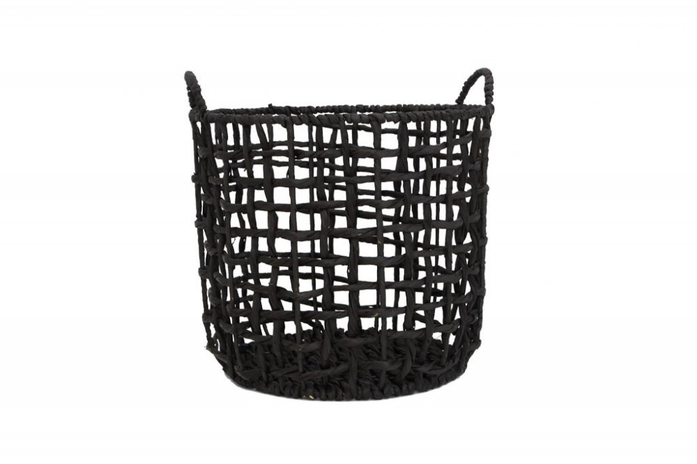 Twisted basket water black with handles l Ø35x40