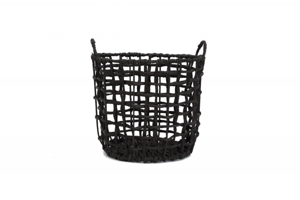 Twisted basket water black with handles m