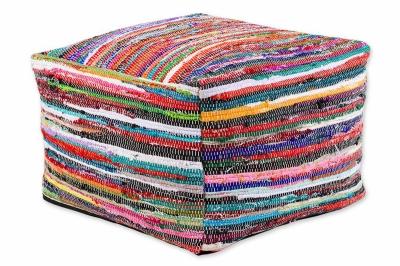 ecarpets Cotton kelim pouf 60x60x40