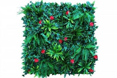 ecarpets Συνθετικό πάνελ φυλλωσιάς κισσός με κόκκινο λουλούδι 100x100
