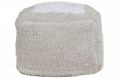 ecarpets Lorena canals cushion pouffe marshmallow square pearl grey 18x30x29