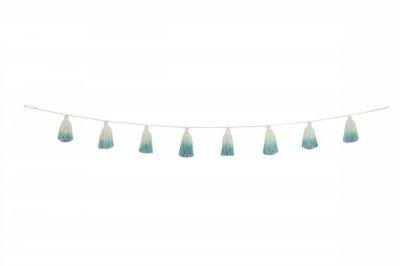 ecarpets Lorena canals pom pom garland tie-dye vintage blue 170cm