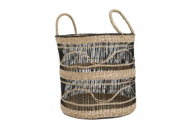 ecarpets Sandycay basket with handles black pattern l Ø37x38