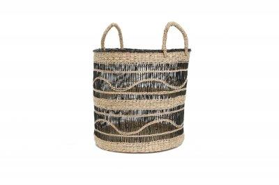 ecarpets Sandycay basket with handles black pattern m Ø34x34