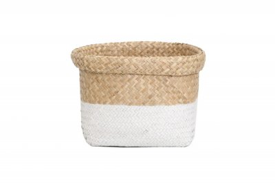 ecarpets Tasmania basket flip-out top edje natural with white l 26x36